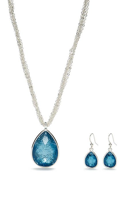 Silver Tone Teardrop Necklace and Earring Set