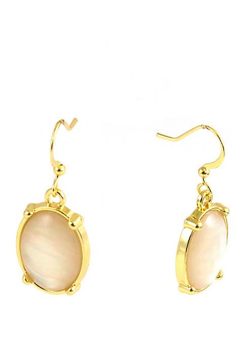 Mother of Pearl Oval Drop Earrings