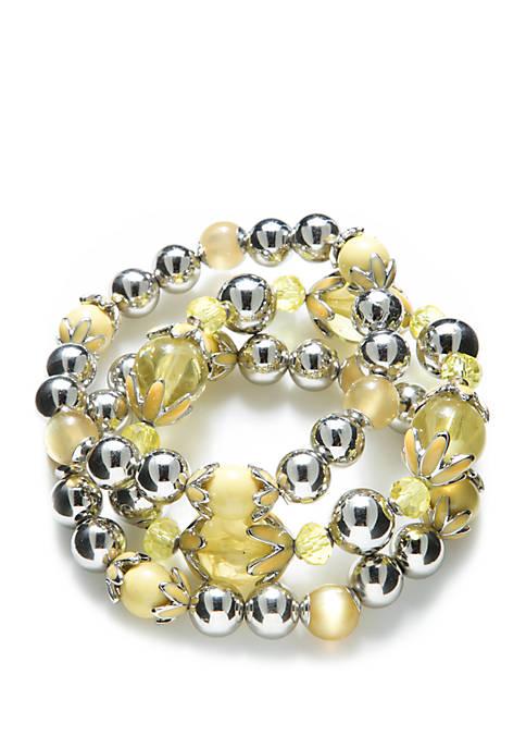 Silver Tone 3 Piece Bracelet Set