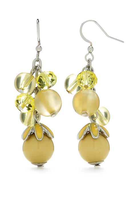 Silver Tone Cluster Bead Earrings