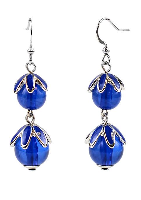 Kim Rogers® Silver Tone Beaded Flower Drop Earrings