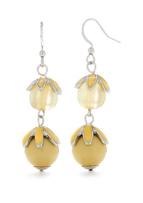 Kim Rogers® Silver Tone Flower Drop Earrings
