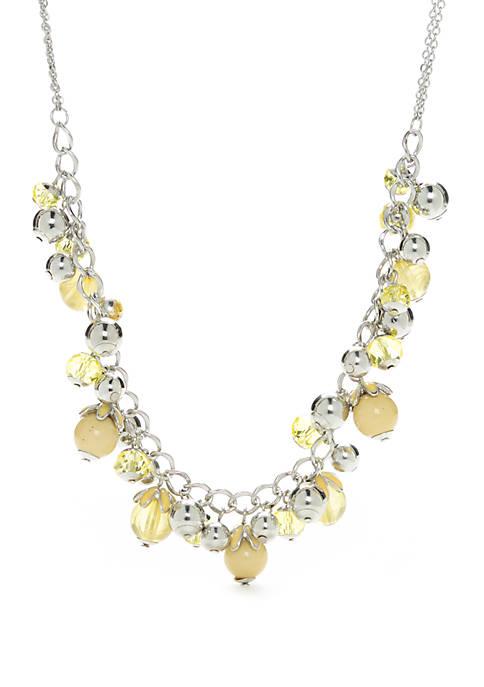 Silver Tone Shaky Bead Necklace