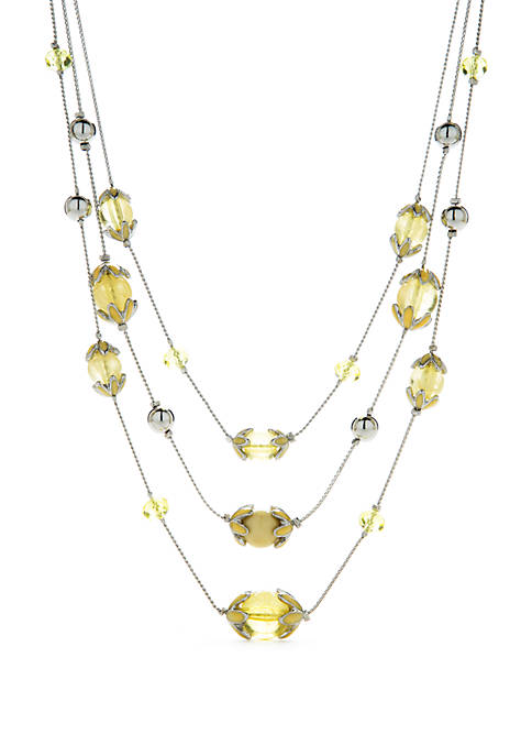 Silver Tone 3 Row Station Necklace