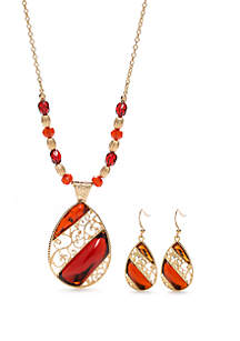 Filigree Teardrop Necklace and Earring Set