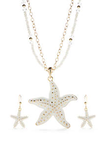 Gold-Tone Starfish Necklace and Earring Set