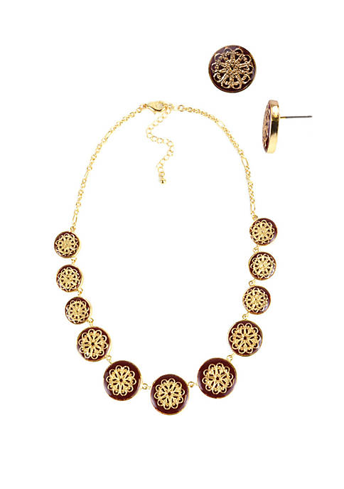 Gold Tone Filigree Necklace and Earring Set