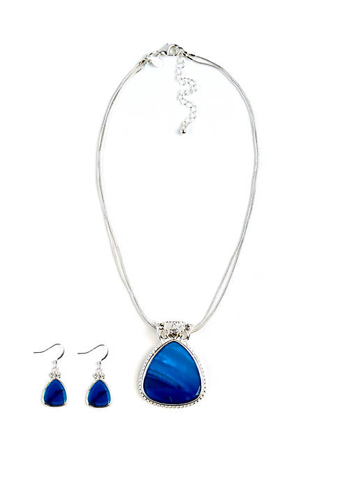 Boxed Silver Tone Triangle Necklace And Earring Set