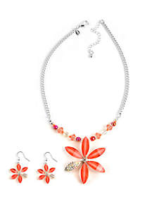 2-Piece Peach Flower Necklace and Earrings Set