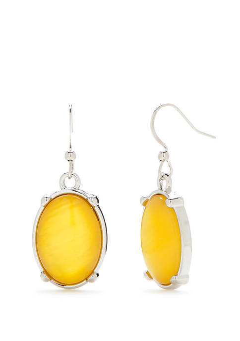 Kim Rogers® Silver-Tone Oval Drop Earrings
