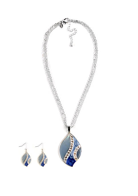 Kim Rogers® Boxed Silver Tone Leaf Necklace And