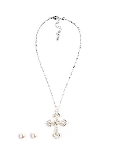 Kim Rogers® Boxed Cross Necklace And Earring Set