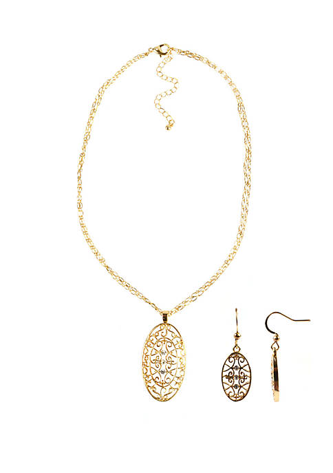 Filigree Oval Necklace and Earring Set