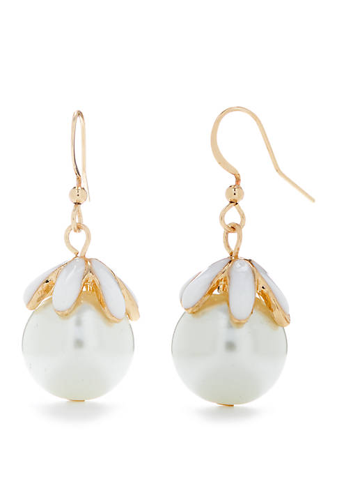 Kim Rogers® Gold Tone Pearl Flower Drop Earrings