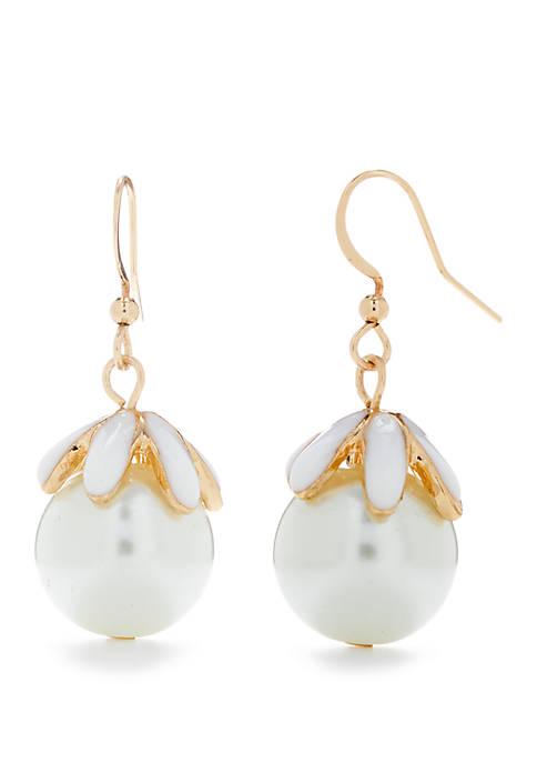Gold Tone Pearl Flower Drop Earrings