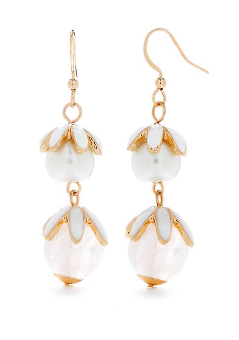 Kim Rogers® Gold Tone Flower Bead Drop Earrings