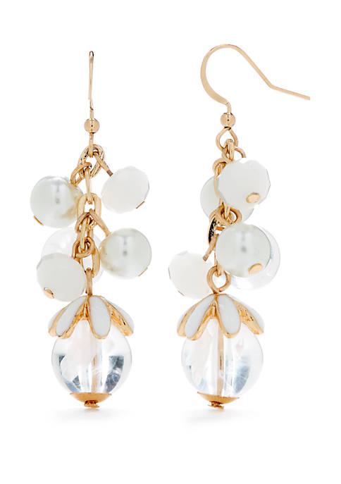 Gold Tone Cluster Bead Earrings