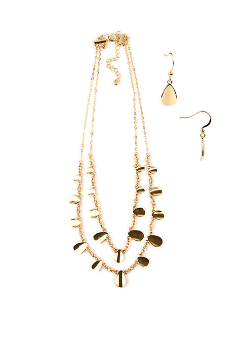 Gold Tone 2 Row Necklace and Earring Set