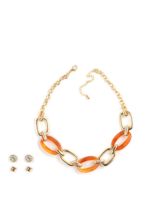 Pavé Crystal Link Necklace and Earrings Set