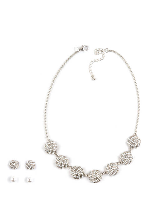 Pearl Silver Tone Necklace and Earrings Set