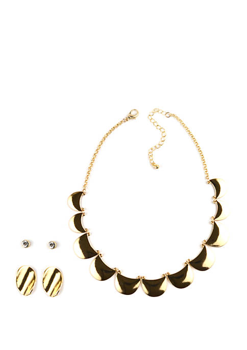 Kim Rogers® Curved Gold Tone Necklace and Earrings