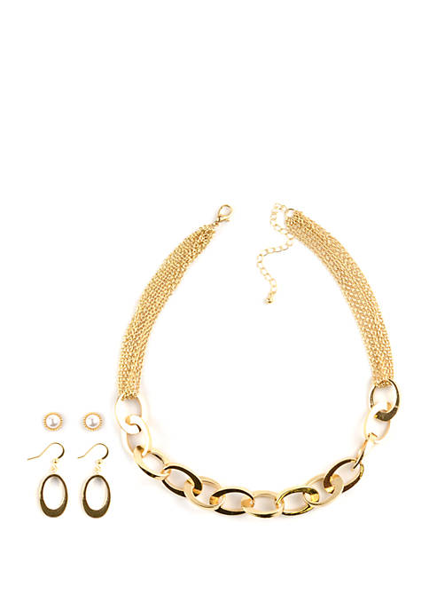 Interlock Link Necklace and Earrings Set