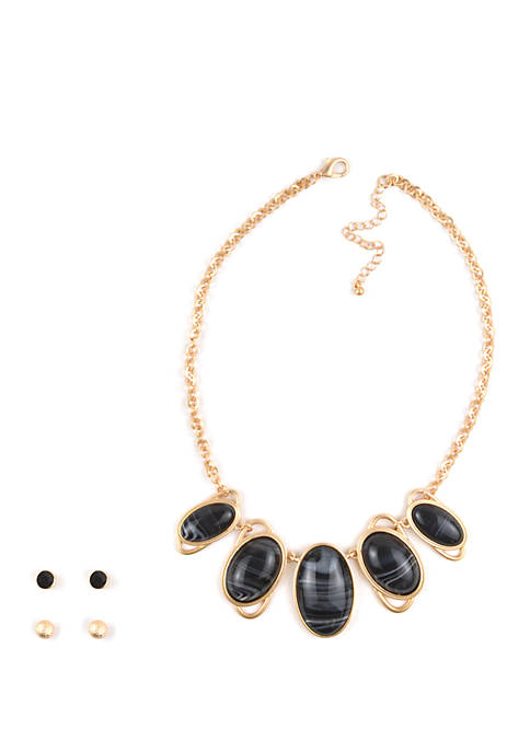 Kim Rogers® Marble Cabochon Necklace and Earrings Set