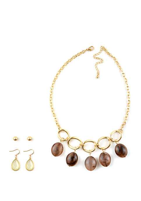 Marble Bead Necklace and Earrings Set