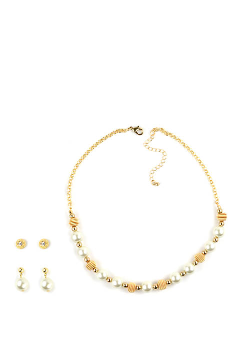 Pearl and Wrap Bead Necklace and Earrings Set