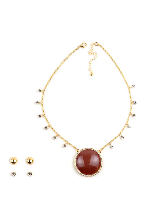 Kim Rogers® Cabochon Pavé Crystal Necklace and Earrings