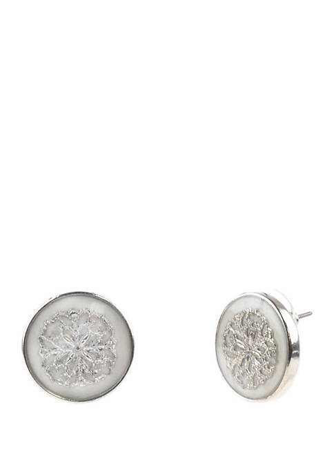 Cabochon Filigree Button Earrings