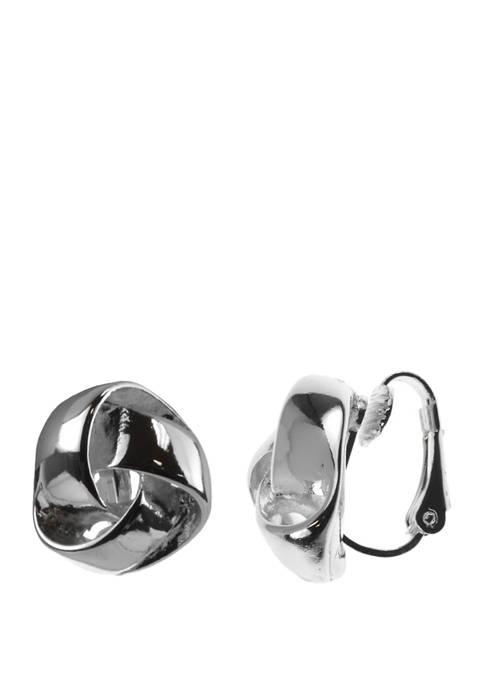 Silver Tone Knot Earrings