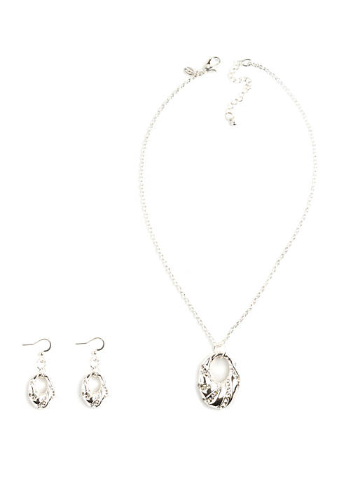 Open Oval Pavé Cyrstal Necklace and Earrings Set