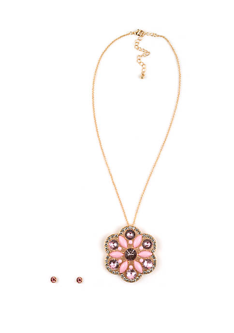 Gold Tone Floral Necklace and Earring Set
