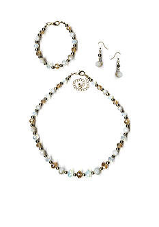 Kim Rogers® Gold-Tone Beaded Necklace, Bracelet and Earrings Boxed Set
