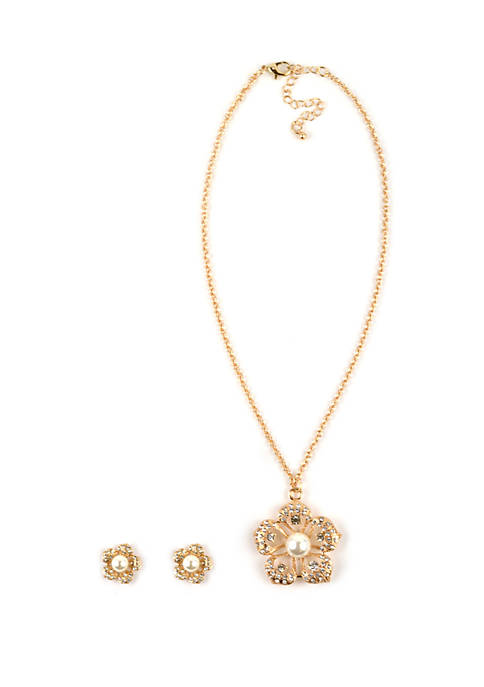 Kim Rogers® 3 Piece Gold Tone Floral Necklace