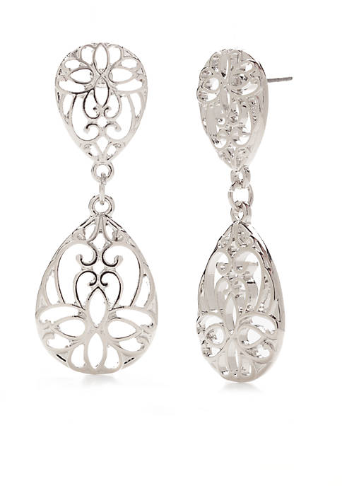 Kim Rogers® Silver-Tone Two Drop Filigree Earrings