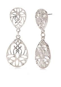 Silver-Tone Two Drop Filigree Earrings