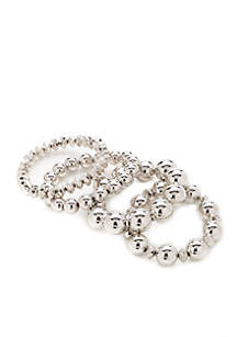 Silver-Tone 4-Piece Beaded Bracelet Set
