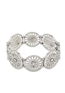 Silver-Tone Filigree Circle Stretch Bracelet