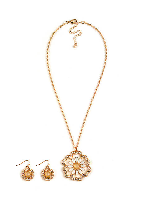 Kim Rogers® Boxed Gold Tone Pave Flower Necklace