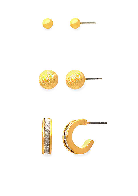 Kim Rogers® Gold-Tone Sensitive Skin Glitter Trio Earring