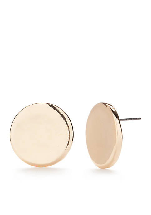 Gold Tone Curved Button Earring