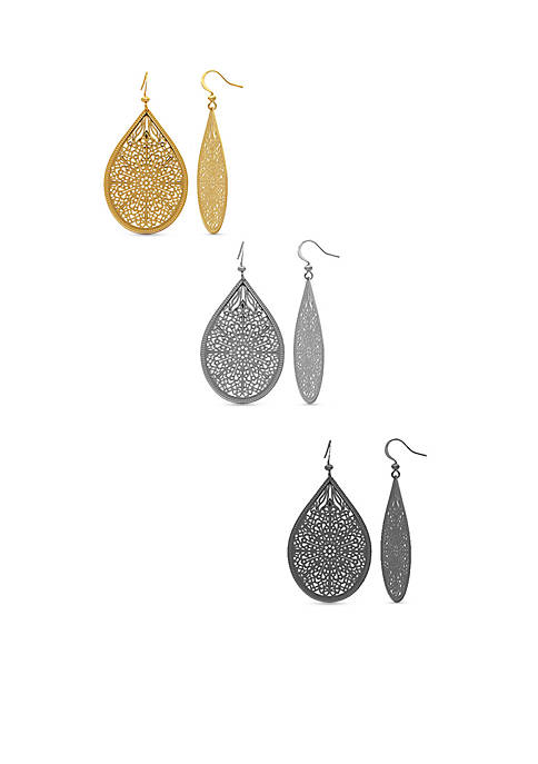 Kim Rogers® Tri-Tone Filigree Teardrop Earring Set