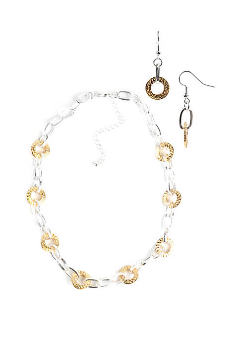 Round Textured Link Necklace and Earring Set