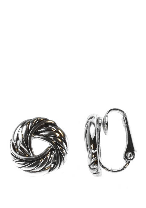 Silver Twist Knot Clip Earrings
