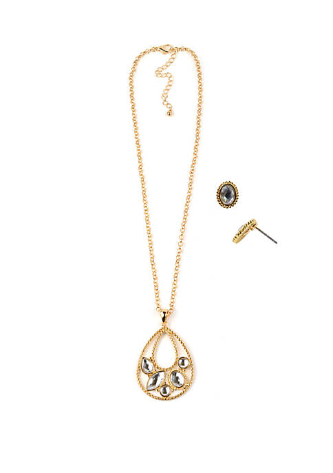 Gold Tone Teardrop Necklace and Earring Set