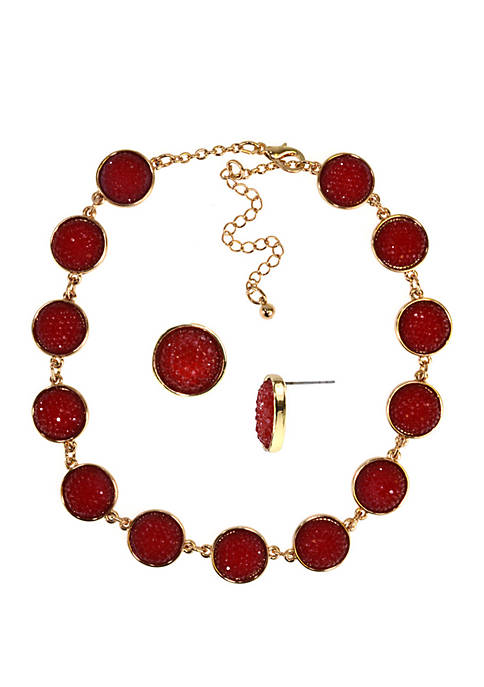 Kim Rogers® Boxed Glitter Circle Earring and Necklace