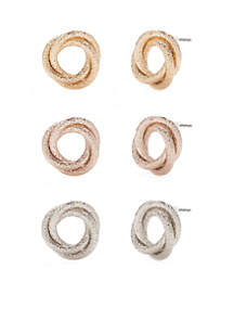 Tri-tone Knot Earring Trio
