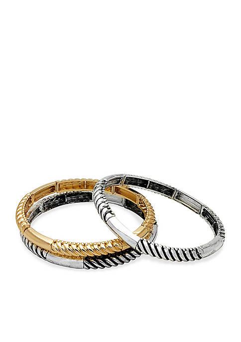 Kim Rogers® Two-Tone Sensitive Skin Trio Stretch Bracelets
